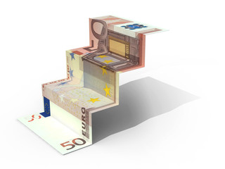 € 50 banknote folded as steps