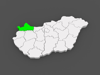 Map of Gyor-Moson-Sopron. Hungary.