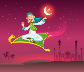 Muslim man flying on magic carpet wishing Eid mubarak