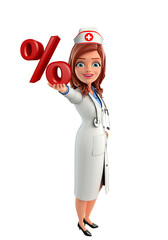 Nurse Character with  percentage sign