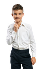confident boy straightens collar
