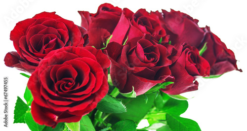 canvas print picture Bouquet of red roses on white background with clipping path