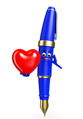 Pen Character with red heart