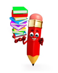 Pencil Character with Books pile