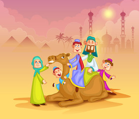 Muslim family on camel ride celebrating Eid