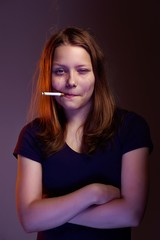 Teen girl with cigarette