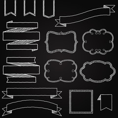 Vector Collection of Chalkboard Style Banners, Ribbons and Frame