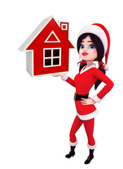 Santa Girl Character with house sign