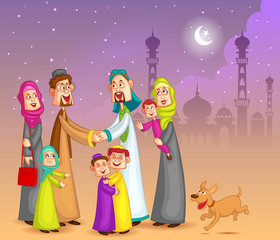 Muslim families wishing Happy Eid
