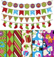 Vector Collection of Christmas and Winter Themed backgrounds and