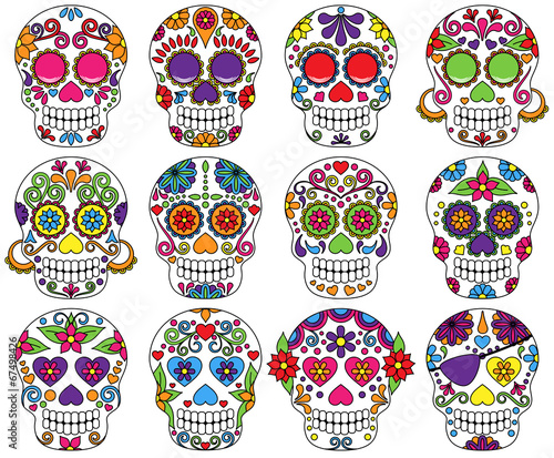 Vector Set of Day of the Dead or Sugar Skulls - 67498426