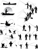 Fisherman vector silhouettes