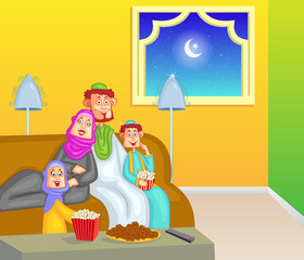 Happy muslim family enjoying iftar for Eid celebration