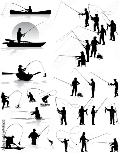 Fisherman vector silhouettes - 67498630