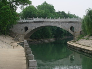 artistic bridge over a canal