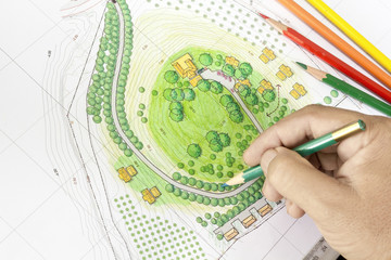 Paint the landscape design plan