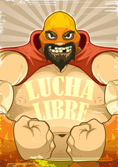 Poster with the wrestler Lucha Libre in retro style