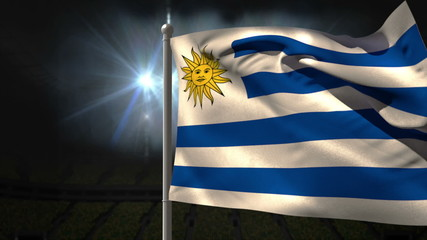 Uruguay national flag waving on flagpole