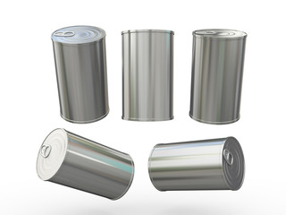 blank aluminum tin can packaging with pull tab, clipping path in