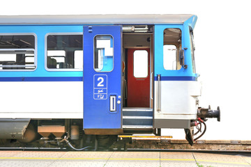 blue train with open door, isolated