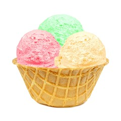 Three different colored ice cream scoops in a waffle bowl