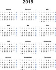 Kalender 2015 universal - ohne Feiertage