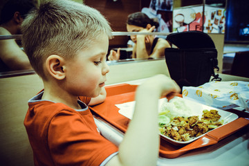 Boy in cafe eating Thai rice dish with grilled chicken