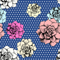 Vintage seamless flower pattern with dots