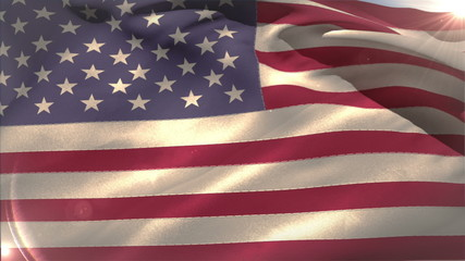Large usa national flag waving
