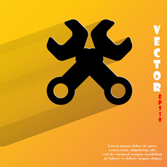 Wrench. tool to work. Flat modern web button with long shadow
