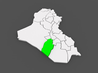 Map of Najaf. Iraq