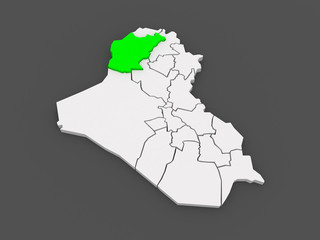 Map of Ninawa. Iraq.