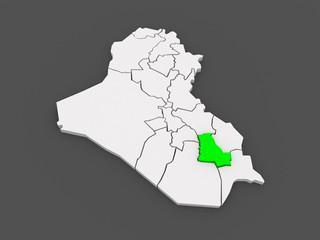 Map of Dhi Qar. Iraq.