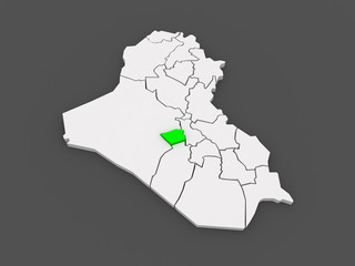 Map of Karbala. Iraq.