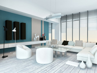 Cool blue and white modern living room inyerior