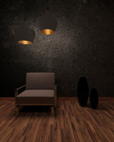Shadowy interior with a chair under hanging lamps poster