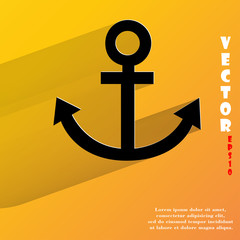 Anchor. Flat modern web button with long shadow and space for