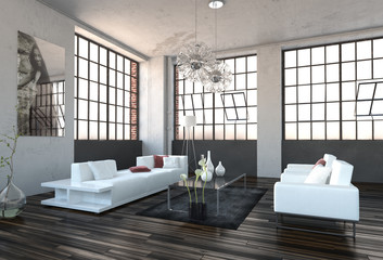 Spacious high volume modern living room interior