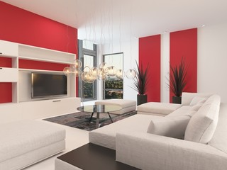 Modern white living room with red accents