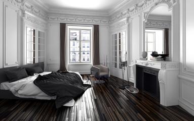 Schlafzimmer in einem alten Vintage Zimmer mit Stuck