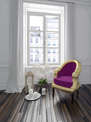 Colorful purple armchair in a chic interior
