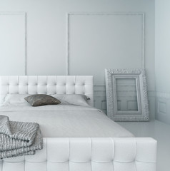 Pure white luxury bedroom interior
