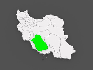 Map of Farce. Iran.