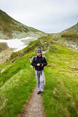 Young caucasian hiker