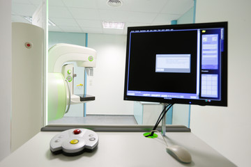 Mammography breast screening device in hospital laboratory.