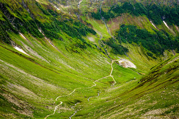 Hiking trail in the Romanian mountains
