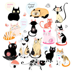 Cheerful set of cats