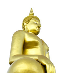 Golden Seated Buddha Image on White Background