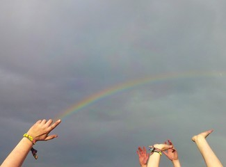 Rainbow from a finger
