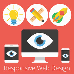 Vector Set of Flat Icons Illustrations for Responsive Web Design